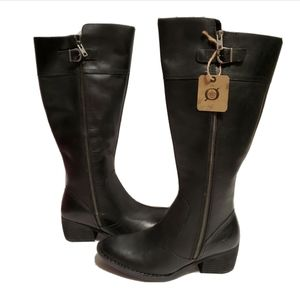 NEW Born Fannar Knee High Black Leather Boots